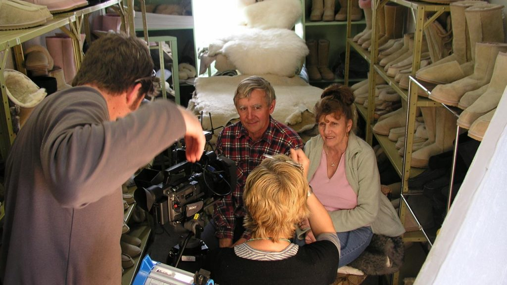Susan Lambert on set for The Good, The Bad and the Ugg Boot Documentary